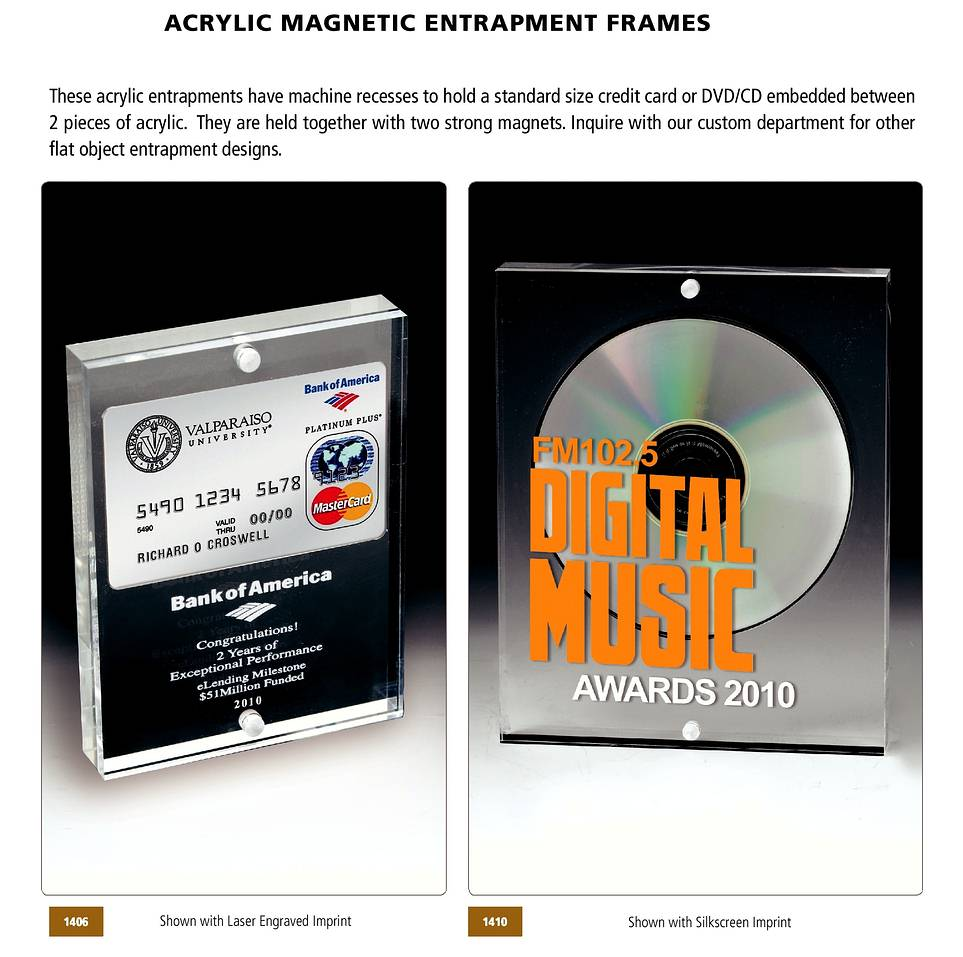 CD ENTRAPMENTS- BUSINESS CARD ACRYLIC: Acrylic CD Awards, Business ...